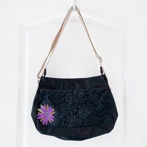 HAIKU Crossbody Bag Black Floral Embossed